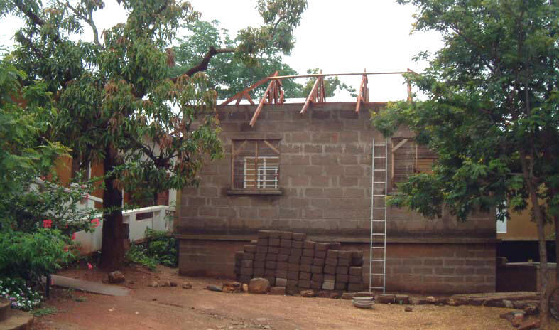 Roof Trusses in progress of being erected