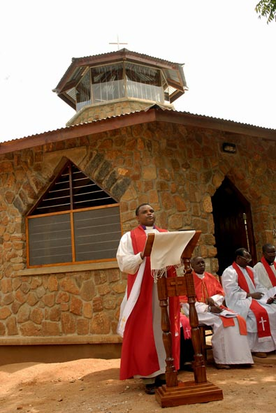 +Jacob Chimeledya Preaches in front of the new St. Luke's Chapel